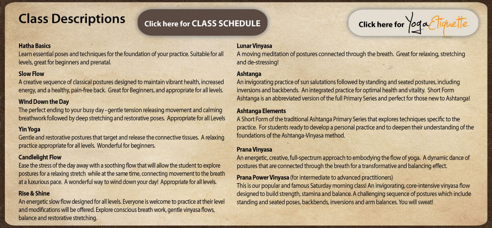 Prana Yoga Center Class Descriptions Hatha Basics Slow Flow Yin Yoga Lunar Vinyasa Prana Power Vinyasa Asthanga